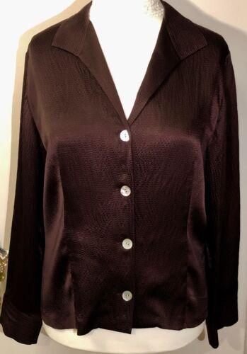 Luxurious 18 amp; Chic Blouse Elegant Chocolate Brown Size Nwot Talbots Pure Silk 5pqwxZSH