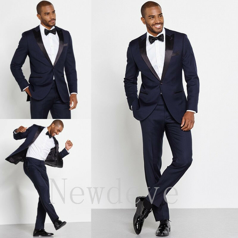 Blue Black 3 Pieces Men Suit Wedding Formal Groomsmen Tuxedo ...