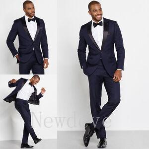 Blue Black 3 Pieces Men Suit Wedding Formal Groomsmen Tuxedo ...