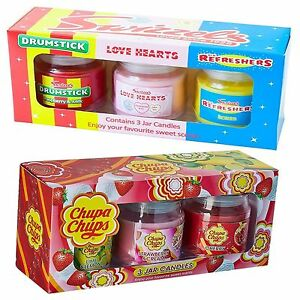 Candle-Set-x-3-Jars-Swizzels-Chupa-Chups-Refresher-Drumstick-Love-Hearts-Gift