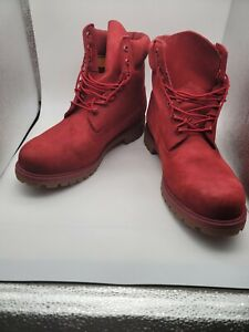 Mens RARE Red & White Timberland Boots Size 11 barely worn Condition. SMELL NEW