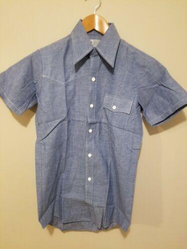 Vintage 1970s Chambray Western Shirt Sanforized Ki