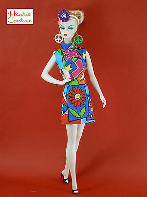 60'S HIPPIE DOLL DRESS PEACE SIGN EARRINGS FITS BARBIE HANKIE COUTURE CLOTHES