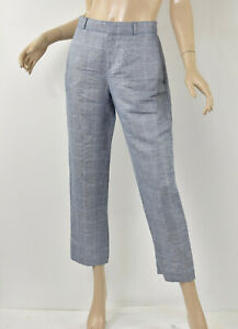 BANANA REPUBLIC Blue AVERY-FIT Windowpane Chambray Linen Blend Ankle Pants S 4