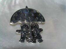 Estate Best Signed Silvertone Boy and Girl Under Umbrella Pendant Pin Brooch Com
