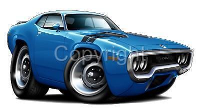 1971-1972 Plymouth Road Runner GTX Muscle Car Cartoon Tshirt #9494 auto art