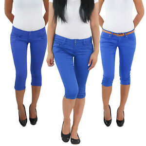 Damen-3-4-Capri-Jeans-mit-Guertel-Stretch-Kurze-Hose-Shorts-Bemuda-Hueft-Sommer