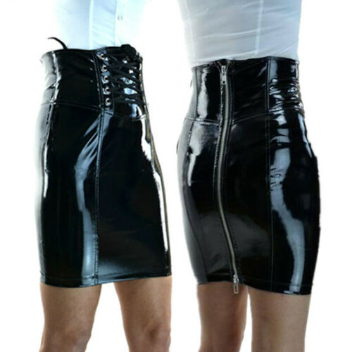 Korsett Rock Gothic Bleistiftkleid Bodycon Sommer Nass Look Damen Party Clubwear