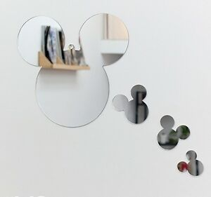 Image Is Loading New 1set 4pcs Mickey Mouse Character Wall Mirror