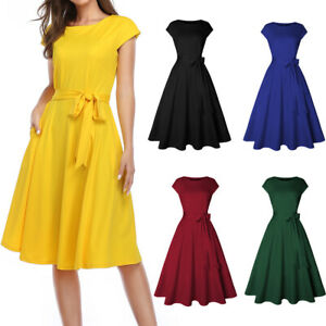 Women Summer Vintage Dress Cap Sleeves Party Cocktail Wedding Retro Swing Dress