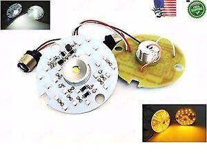 2x White Amber LED Clear Lens Turn Signal Daytime Light 1157 Bulb Harley Touring