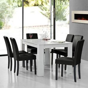 A Manger Blanc Avec 6 Chaises Noir 140x90