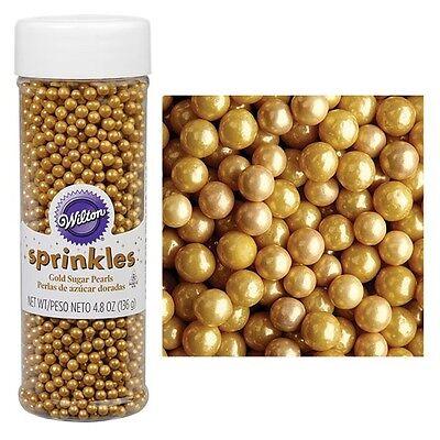 Wilton Sugar Pearls Sprinkles 4.8oz edible iridescent -Gold- cake decorating