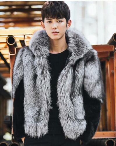 Winter Mens Hooded Faux Fox Fur Overcoat Thick Jacket Outwear Color Splice Coats