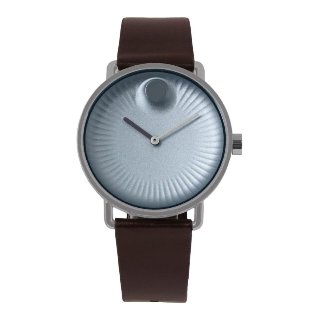 7844a548546 Movado Men s Edge 40mm Leather Band Steel Case Swiss Quartz Watch 3680040