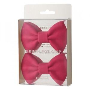 Francfranc-2-Pieces-Ribbon-Potholder-Pink-Linens-Textile-Oven-Mitts-Kitchen-Tool