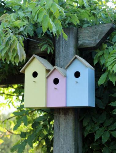 3x PICCOLA IN LEGNO NIDIFICAZIONE UCCELLI BOX HOUSE Robin BLUE Tits Sparrow