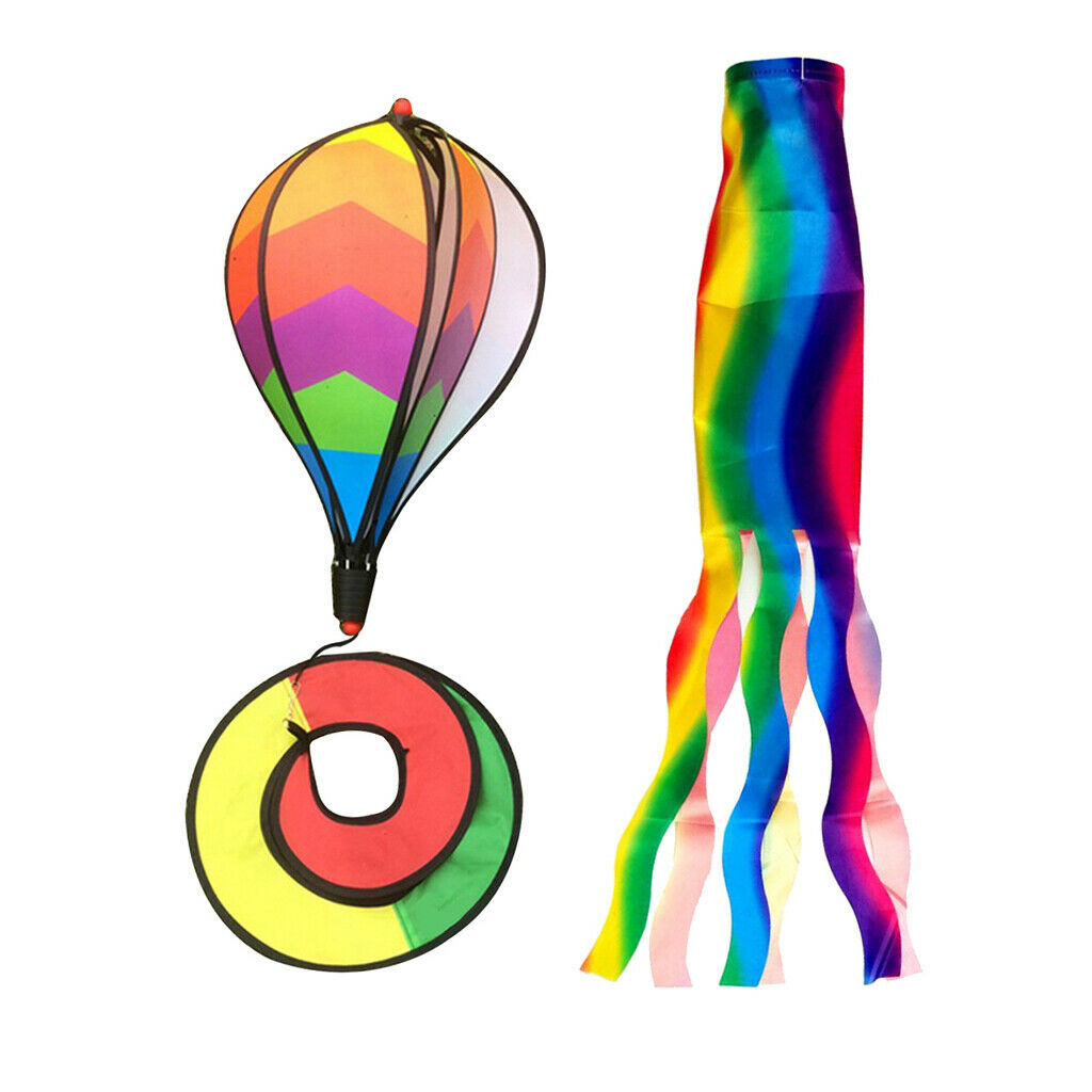 2PCS Rainbow Windsock, Wind Streamer, Camping Spinner, Hanging Flags for Outdoor