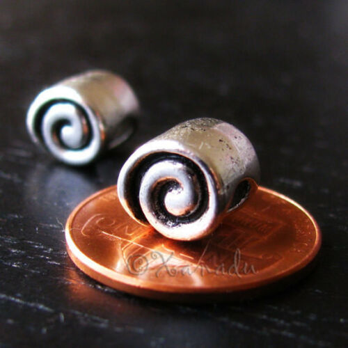 2PCs Spiral Curly Cue Silver Spacer Beads For European Charm Bracelets Necklaces