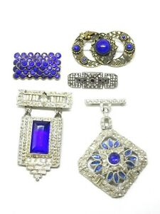 Vintage-5-Pc-Brooch-Lot-Art-Deco-Pot-Metal-Blue-Glass-Sterling-Dangling-Brooches