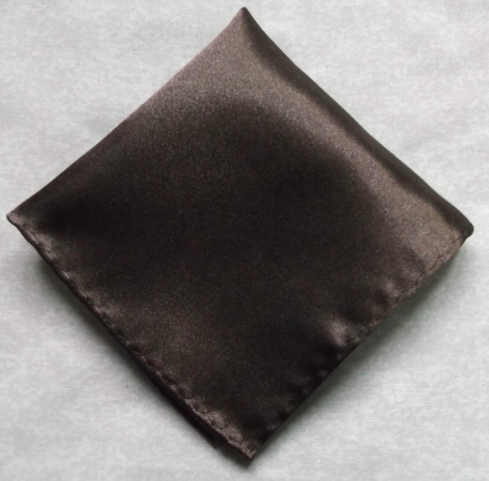 Handkerchief MENS Top Pocket Square Hankie Silky Shiny DARK BROWN