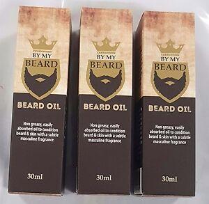 3-x-30ml-BY-MY-BEARD-Beard-Oil-Non-Greasy-Masculine-Frangrance-Soft-Hair-New