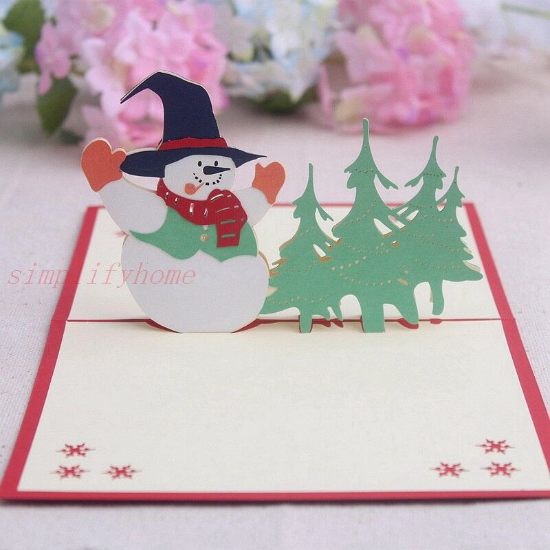 Snowman 3D Pop up greeting card for Holiday Congratulation Merry Christmas
