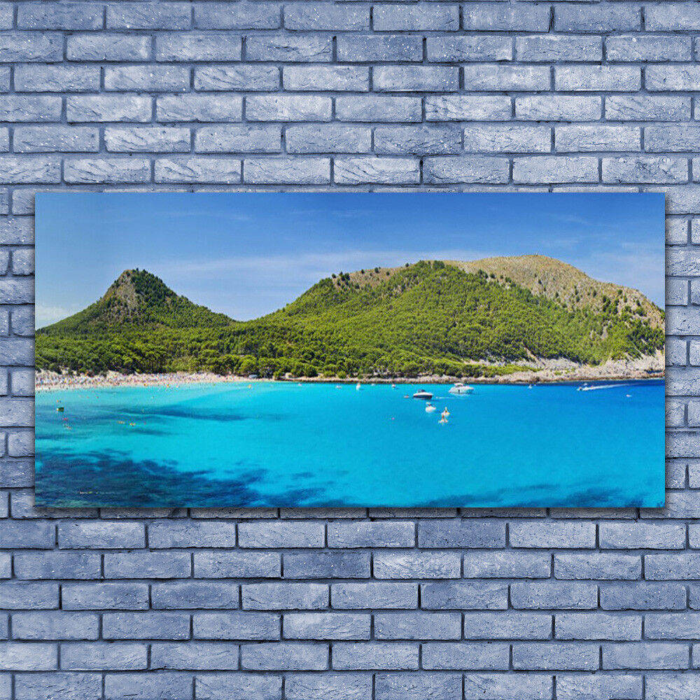 Print on Glass Wall art 140x70 Picture Image Mountain Sea Landscape