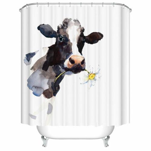 Bath Curtains Cow Farmhouse Animal Painting Art Bathroom Shower Curtain Decor