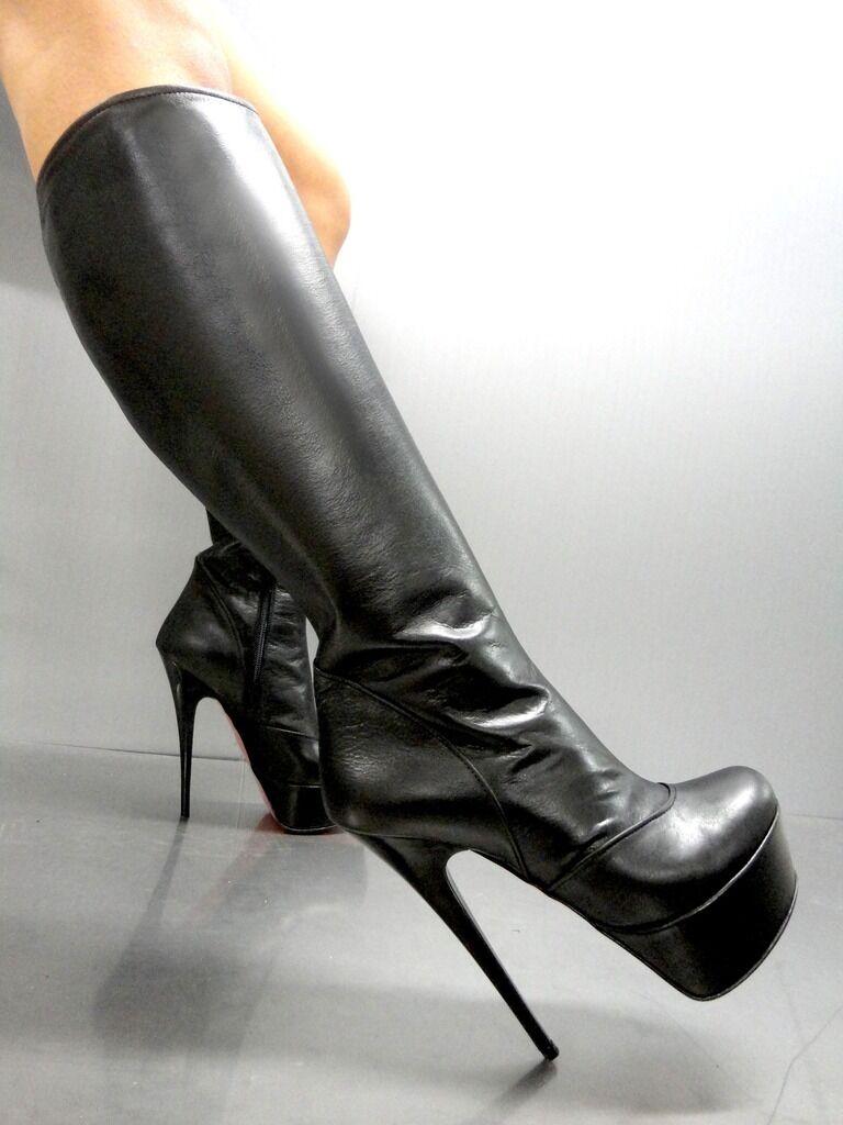 MORI ITALY PLATFORM KNEE HIGH botas Negro STIEFEL STIVALI LEATHER Plata Negro botas NERO 37 45e98b