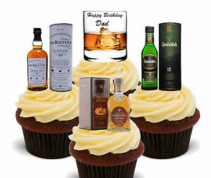 Image Is Loading Happy Birthday Dad Whisky Edible Cup Cake Toppers