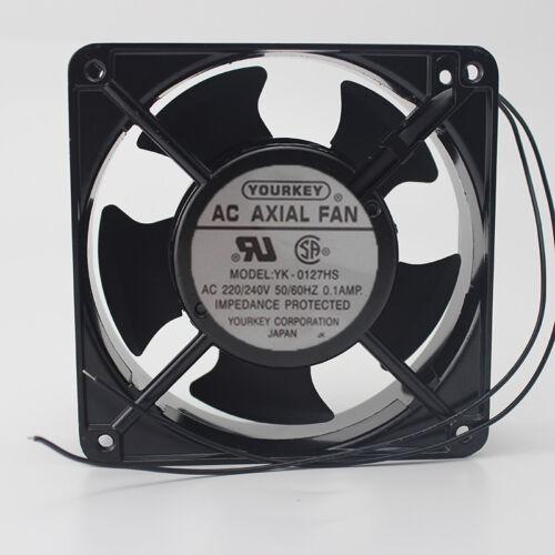 1 PCS  YOURKEY AC Axial Fan  YK-0127HS AC 220//240V 0.1A 12038 12CM 2 Wire