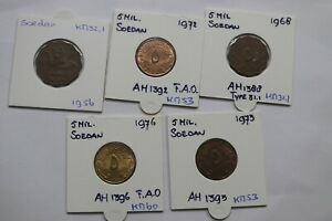 SOEDAN-5-MILLIEMES-5-COINS-LOT-A99-BX10-19