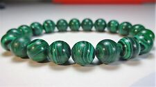 "Genuine MALACHITE bead bracelet for MEN WOMEN Stretch AAA Quality 10mm 7.5"" inch"