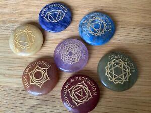 7 Chakra Gemstone Set Engraved Crystal Healing Reiki in Velvet Bag. Yoga