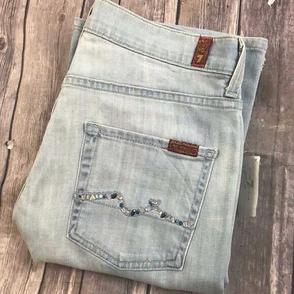 7 For All Mankind Jeans High Waist Boot Crystals 29 x 35