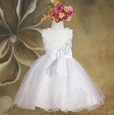 Baby Girl Flower Princess Party Formal Christening Wedding Bridesmaid Tutu Dress