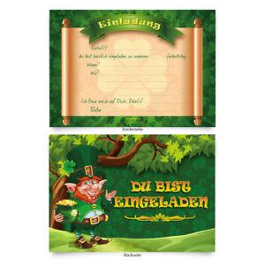 Einladungskarten-8-Stueck-zum-Ausfuellen-fuer-Geburtstag-Kleeblatt-034-Kobold