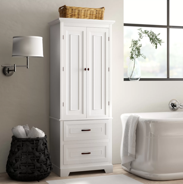 White Finish Linen Tower Bathroom Towel Storage Cabinet Tall Wooden Organizer