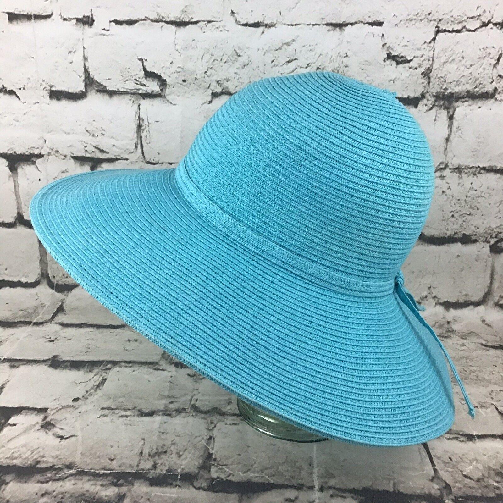Womens OSFA Hat Sky Blue Straw Wide Brim Floppy S… - image 1