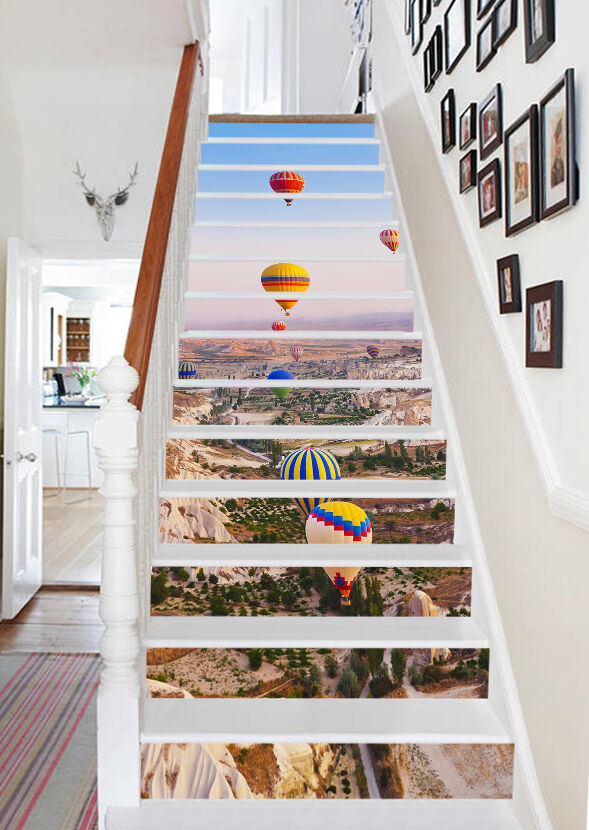 3D balloon scenery stairs Risers Decoration Photo Mural Vinyl Decal Wallpaper CA