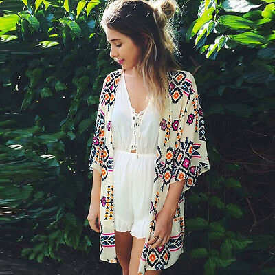 Fashion Women Blouse Geometry Printed Summer Chiffon Coat Shawl Kimono Cardigan