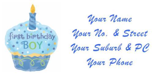 48 LARGE PERSONALISED 1ST BIRTHDAY INVITATION RETURN ADDRESS LABEL STICKERS BOY