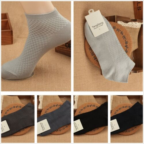 10 Pairs Men Bamboo Fiber Casual Socks Loafer Boat Liner Low Cut No Show Nonslip