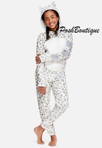 NWT Sz 18 20 Justice Girls Snow Leopard One Piece Hoodie Pajamas Union Suit