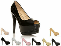 WOMENS PEEP TOE CONCEALED PLATFORM LADIES HIGH STILETTO HEEL SHOES SIZE 3-8