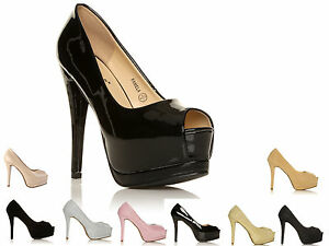 WOMENS-PEEP-TOE-CONCEALED-PLATFORM-LADIES-HIGH-STILETTO-HEEL-SHOES-SIZE-3-8