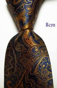 New-Classic-Paisley-Dark-Blue-Gold-JACQUARD-WOVEN-Silk-Men-039-s-Tie-Necktie