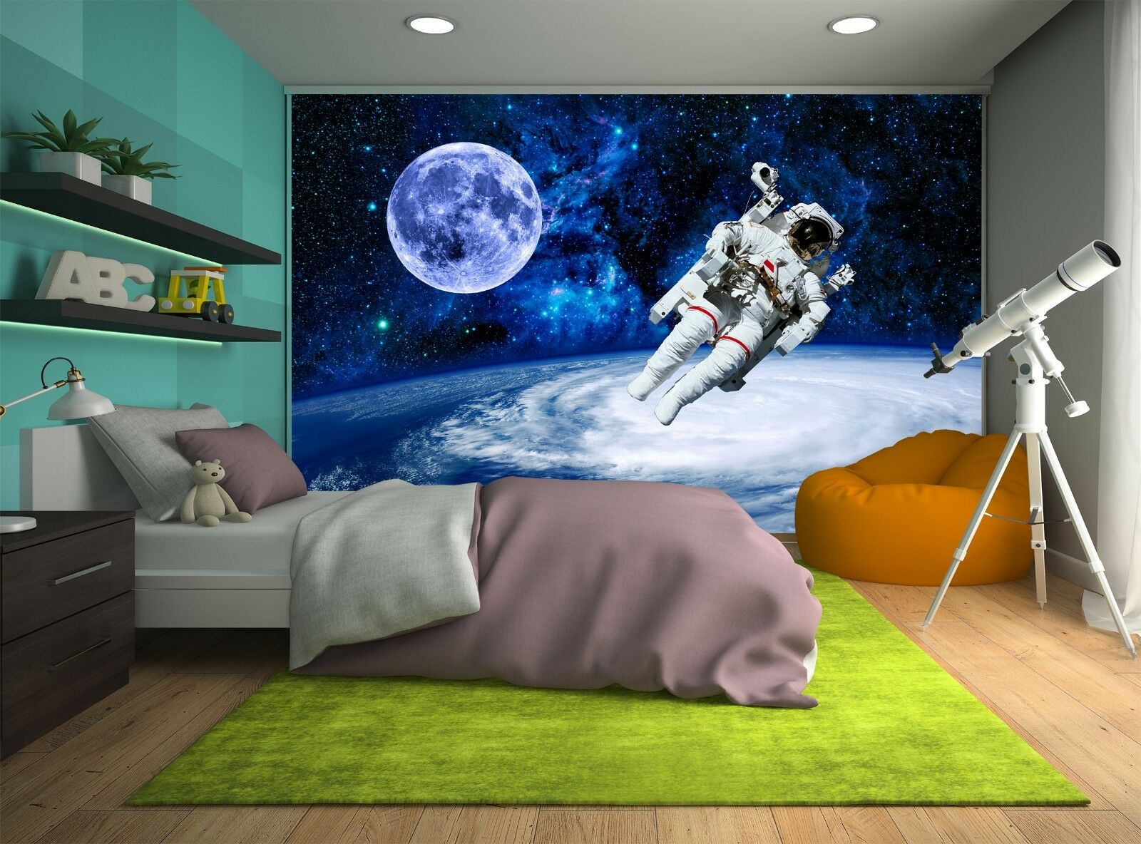 Astronaut in Moon Space Photo Wallpaper Wall Mural DECOR Paper Poster Free Paste