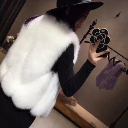 Women/'s Vest Coat Faux Fox Fur Sleeveless Coat Gilet Waistcoat Plus Size Zsell